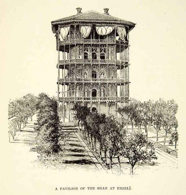 نقاشی از بنای شمس العماره بندر انزلی