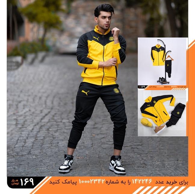 تخفیفانه ست ورزشی مردانه Ticmon مدل 1584,Ticmon men's sports set model 1584,ست ورزشی پسرانه سویشرت و شلوار تیکمون رنگ زرد و مشکی,خرید پستی ست ورزشی مردانه Ticmon مدل 1584,